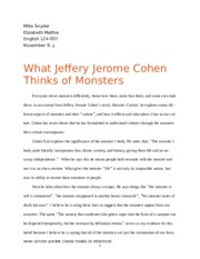 What Jeffery Jerome Cohen Thinks of Monsters