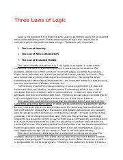 The Three Laws of Logic