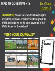 Unit 1 Day 2 Types of Governments USE THIS ONE 2018.ppt