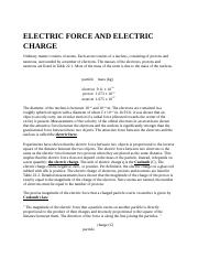 ELECTRIC FORCE AND ELECTRIC CHARGE