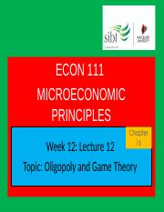 Lecture 12 Oligopoly and Games Theory.ppt
