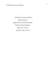 Unit 5- Int'l Business Issues and Ethics