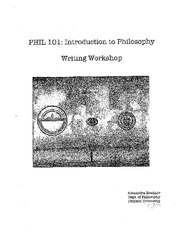 PHIL 101 Writing Workshop