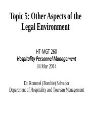 260-Topic 5 Legal Environment Spring 2014