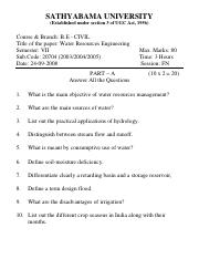 (www.entrance-exam.net)-Sathyabama University B.Tech in Civil Engineering- Water resources Engineeri