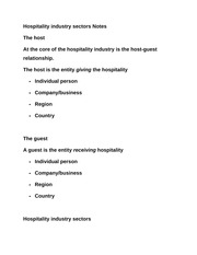 Hospitality industry sectors Notes