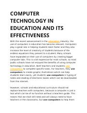 COMPUTER TECHNOLOGY IN EDUCATION AND ITS EFFECTIVENESS.docx