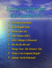 Food Service Operations & YOU