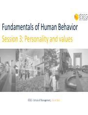 FOHB 2015-16 Session 3 Personality and values