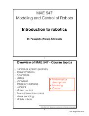 Lec1 pdf - MAE 547 Modeling and Control of Robots