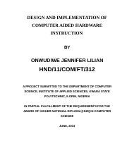 DESIGN AND IMPLEMENTATION OF INTELLIGENT SOFTWARE SYSTEM FOR COMPUTER-AIDED HARDWARE INSTRUCTION