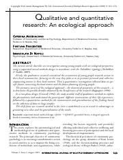 Qualitative and quantitative research an ecological approach