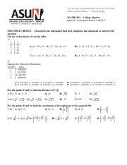 MATH 101 : algebra - ASUN - Course Hero