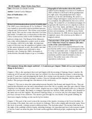 major works data sheet for brave Ap english: major works data sheet title: author: date of publication: genre: biographical information about the author historical information about period of publication characteristics of the genre plot summary describe the author's style examples that demonstrate style.