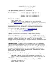152syllabus - MATH 152 Calculus II Spring 2017 Section 06