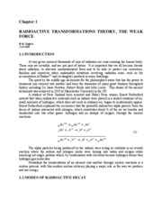 1. Radioactive Transformations Theory The Weak Force