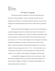 Essay_Origin of Language