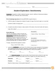StoichiometrySE - Name Meaghan Kreh Date Student ...