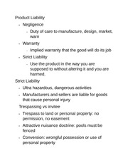 Product Liability and trespassing notes