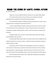 Behind the Scenes of Lights, Camera, Action Finale.docx