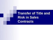 18_Transfer of Title and Risk in Sales Contracts