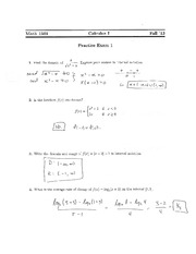 Practice Exam 1 Solution on Calculus 1
