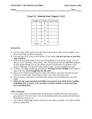 Exam 5 on Systems of Linear Equations and Inequalities