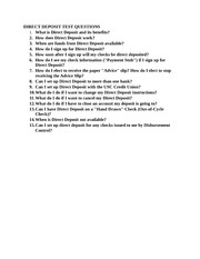 DIRECT DEPOSIT TEST QUESTIONS