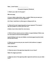 Argument Worksheet