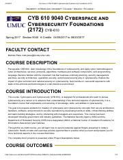 syllabus tool - CYB 610 9040 Cyberspace and Cybersecurity Foundations (2172).pdf