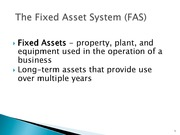The Expenditure Cycle Fixed Asset Procedures