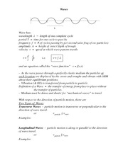 Wave Function Notes