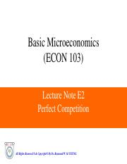 LN E2 - Perfect Competition Basic Micro
