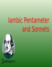 iambic pentameter and sonnets