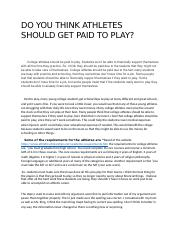 DO YOU THINK ATHLETES SHOULD GET PAID TO PLAY.docx