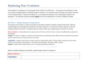 company g- marketing plan worksheet