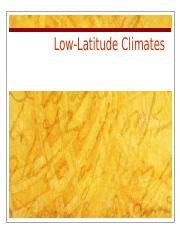 Lecture 7-Low-Latitude Climates