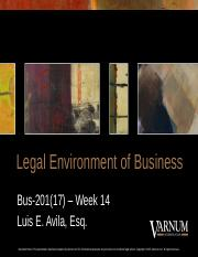 2016 - Legal Environment of Business (Week 14) (1)