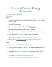 Pros and Cons of Energy Resources