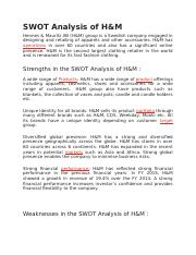 Swot Analysis Of Hm Docx Swot Analysis Of H M Hennes Mauritz Ab H M Group Is A Swedish Company Engaged In Designing And Retailing Of Apparels And Course Hero