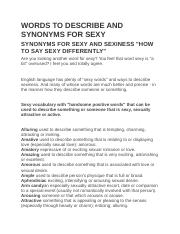 Words To Describe And Synonyms For Sexy Docx Words To Describe