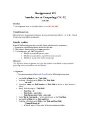 Introduction to Computing - CS101 Fall 2007 Assignment 06.pdf