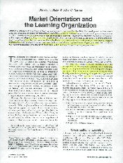 (1995) Marketing Orientation and Organizational Learning