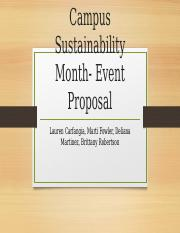 Completed Campus Sustainability Month- Event Proposal