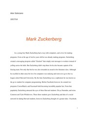 Essay on Zuckerburg