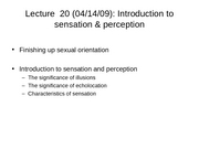 Lec20 Intro to Sensation & Perception