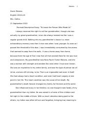 "Descriptive Essay ""To Loose the Person Who Made Us"""