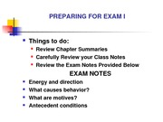 Preparing for Exam I-1