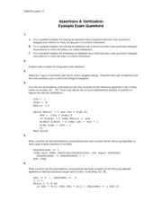 EECS 3311 Assertion and Verification Exam Questions