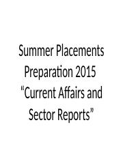 W1S1 - Current Affairs and Sector Reports Prep